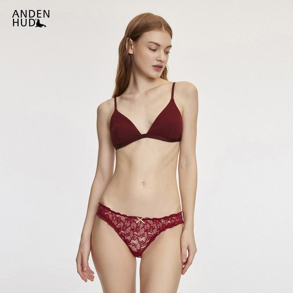 【Anden Hud】閃耀星空.花苞蕾絲低腰三角內褲(酒紅-燙金星星) 台灣製