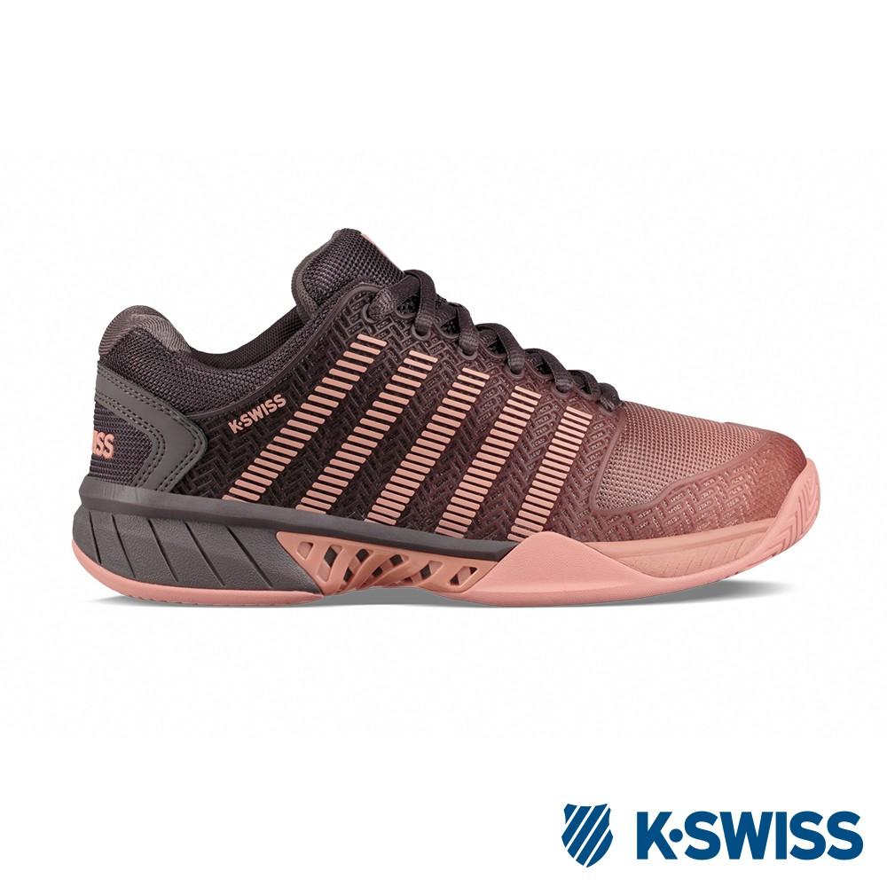 【零碼出清】K-SWISS Hypercourt Express超透氣輕量網球鞋-女-灰/蜜桃粉