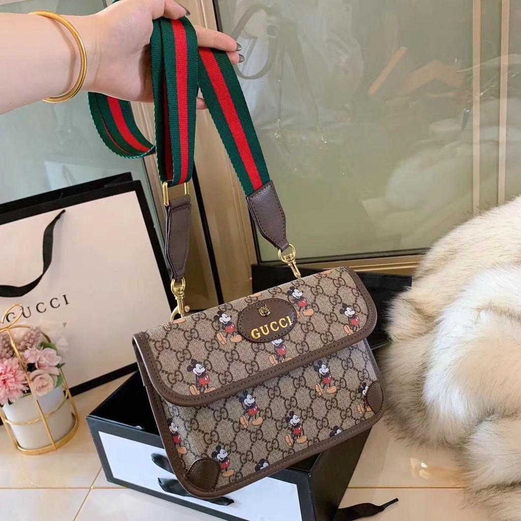 新款Gucci古馳 米奇斜挎款 虎頭頭復古米老鼠 立體 金屬 綠紅綠 PU 兩用 胸口包 腰包 情侶款