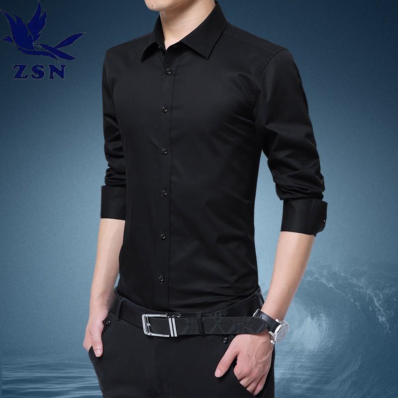 【M-8XL】男士長袖襯衫 商務西裝襯衫 經典素面襯衫 簡約休閒百搭正裝內搭 寬鬆大尺碼高磅數上衣 打底衫修身顯瘦襯衫