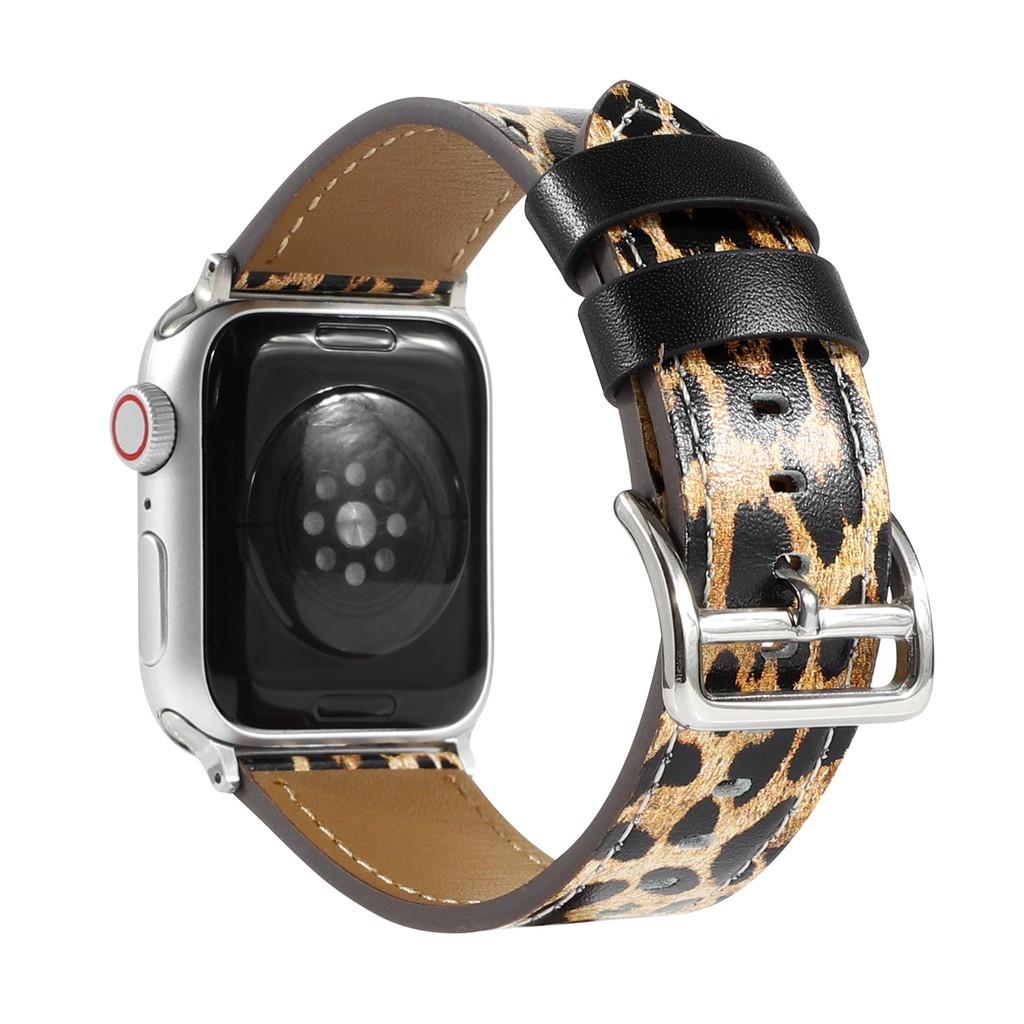 Apple Watch 錶帶豹紋皮革材料 Applewatch 系列 6 5 4 3 2 1 Se, Apple Wat