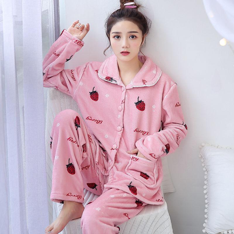 套裝加厚家居服法蘭絨保暖秋冬季珊瑚絨卡通韓版可愛大碼