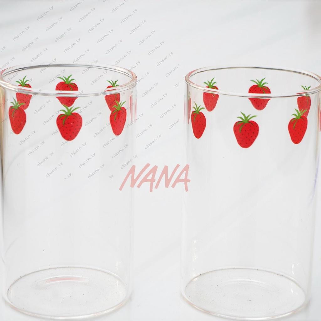 漫畫版NANA草莓玻璃杯 高硼硅耐熱玻璃 可愛草莓牛奶杯 漫畫周邊悠然見幽藍
