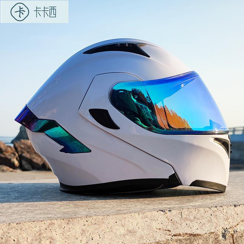 卡卡西 Orz電動車頭盔男揭面盔雙鏡片半盔安全帽個性四季機車頭灰女