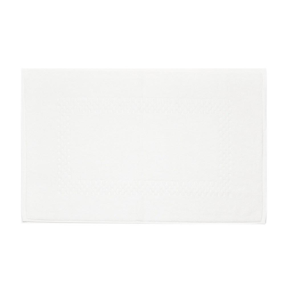 HOLA 葡萄牙純棉毛巾踏墊 方格白 50x80cm