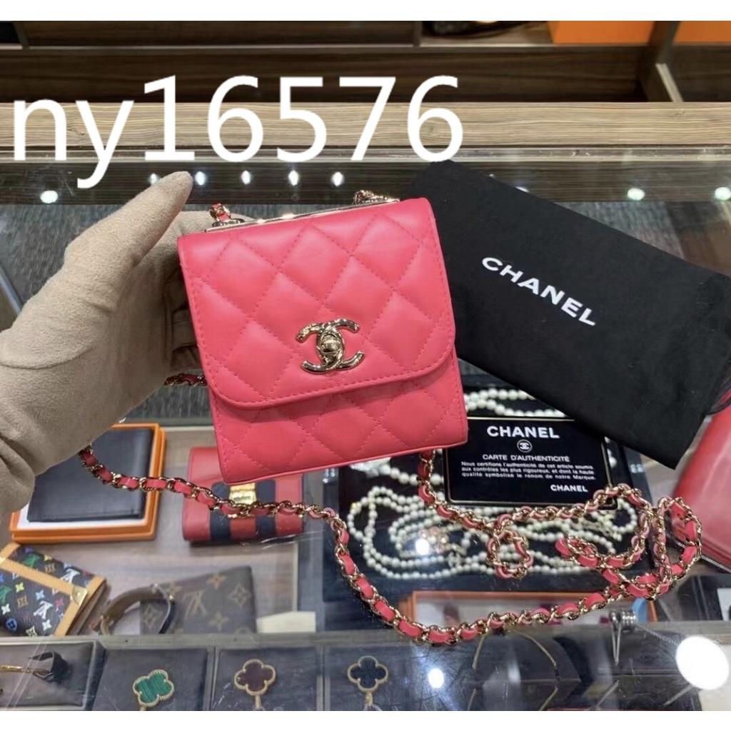 米娜二手❤️CHANEL香奈兒 Trendy cc mini粉紅色 菱格羊皮 鏈條包 翻蓋包 斜挎包 A81633