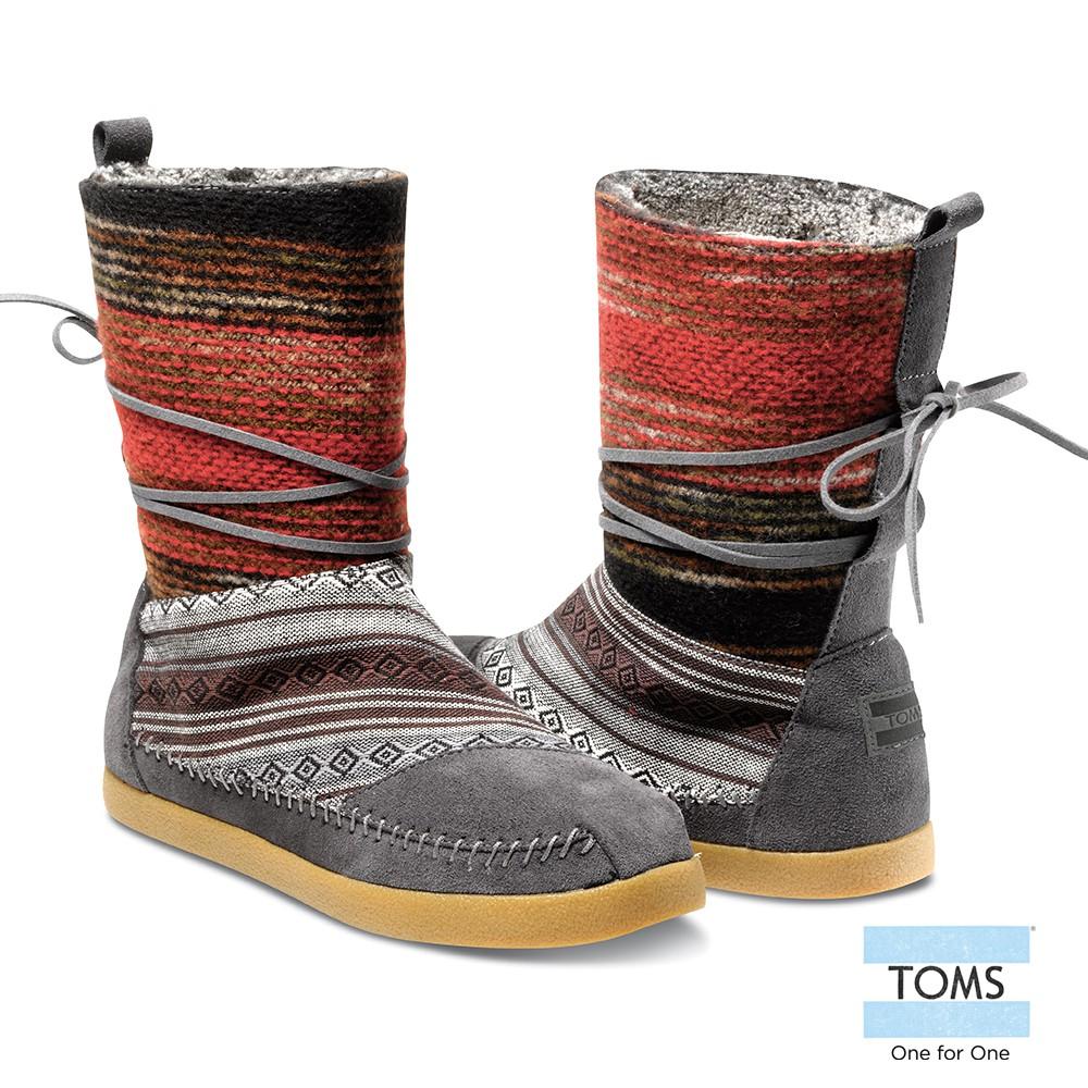 美國原廠 TOMS女鞋 多彩民俗圖紋針織麂皮拼接雪靴 休閒鞋 零碼特惠