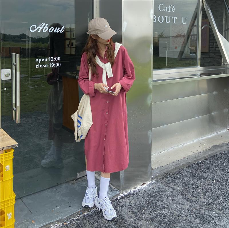 過膝長洋裝 21650韓版ins慵懶風百搭過膝寬鬆長袖襯衫