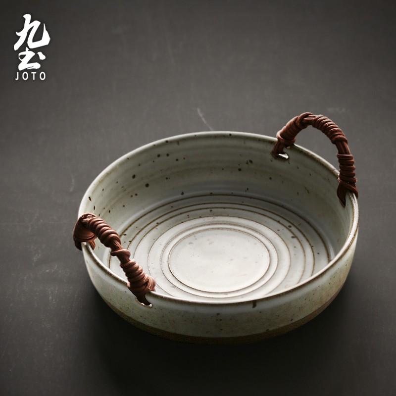 【九土JOTO】日式復古手工編織碗日式碗盤復古粗陶菜盤手工盤創意家用盤陶瓷餐具