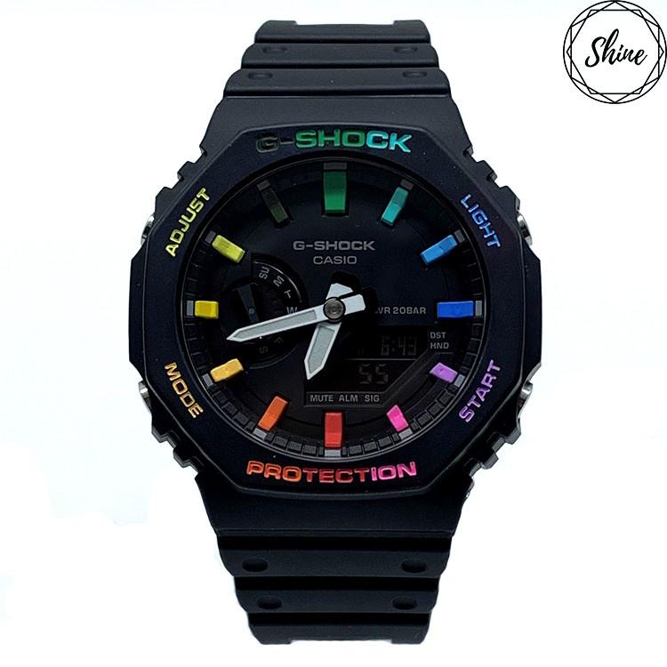 免運-改裝 GA-2100-1A 手錶 客製彩虹12刻度和錶殼字 [Shinecollectionhk]