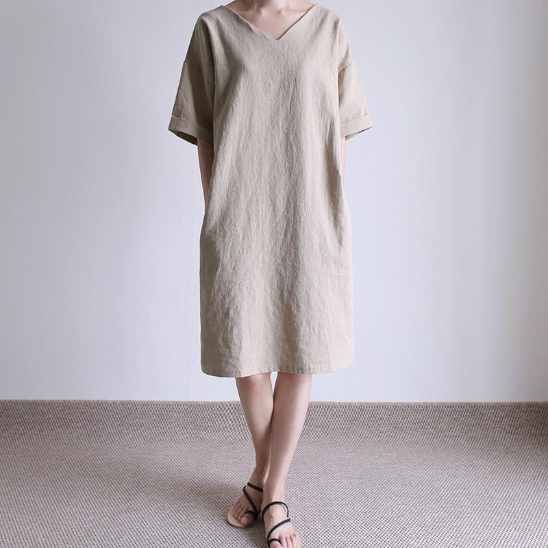 girlmonster 正韓 亞麻 V領 連身洋裝 (米色/深灰色) 【A0236】