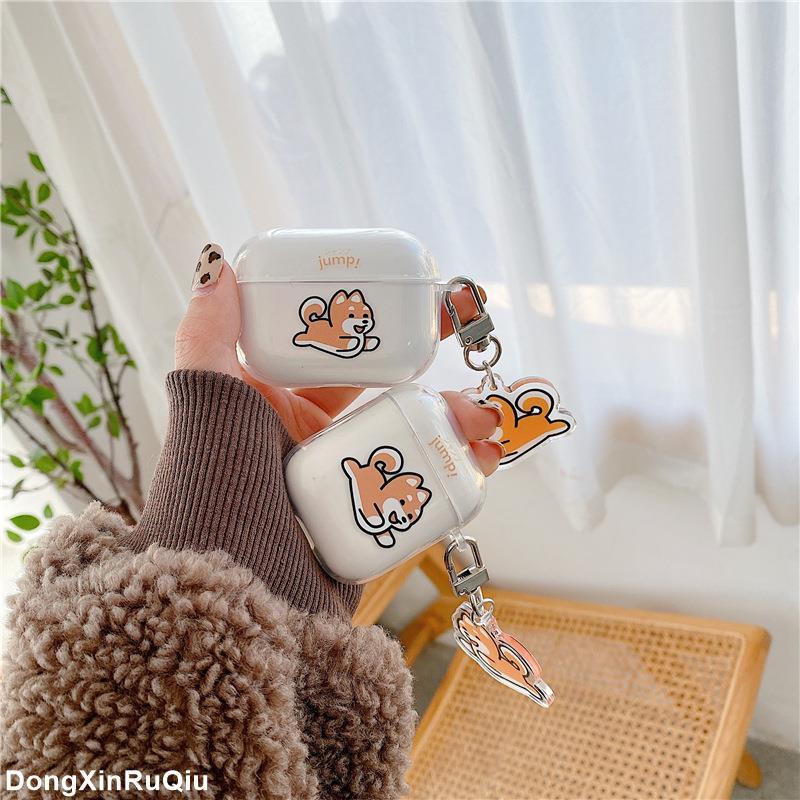 潮牌熱賣蘋果AirPods pro 保護套柴犬 可愛耳機殼 airpods3 藍牙耳機套 透明軟殼 女 韓國 airpo