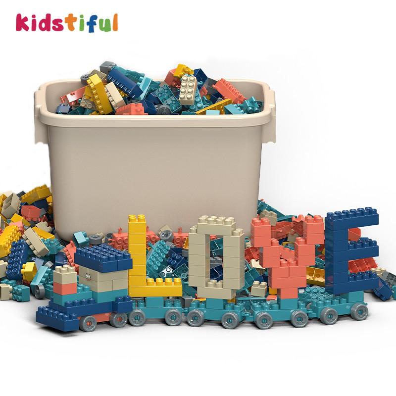 積木玩具大塊散裝莫蘭迪色積木兒童玩具100Pcs女孩玩具
