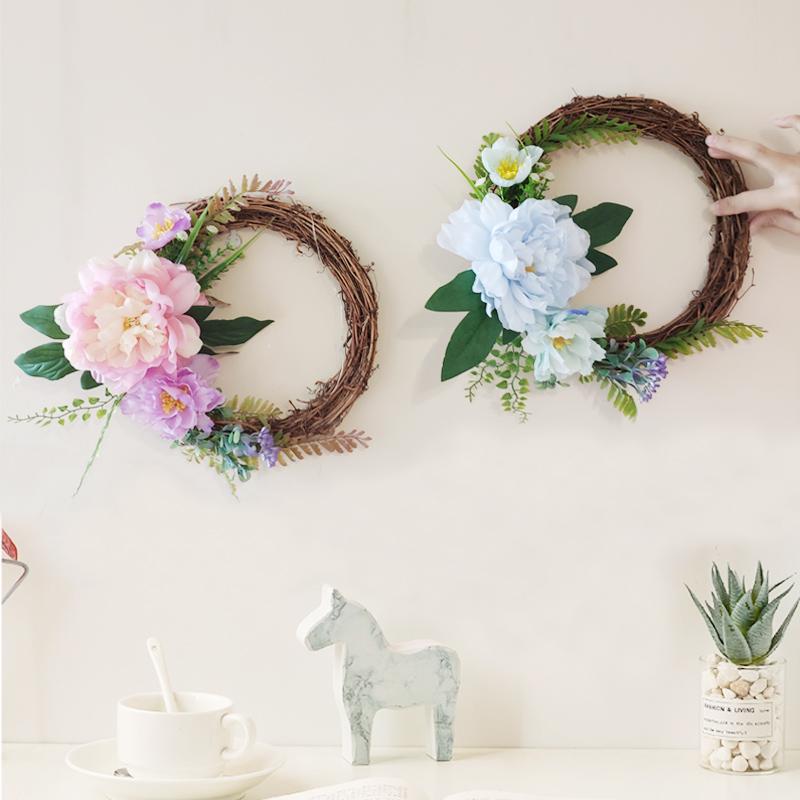 inbeauty 房間掛飾花環創意客廳臥室牆壁牆上掛花裝飾品牆面掛件植物花藝