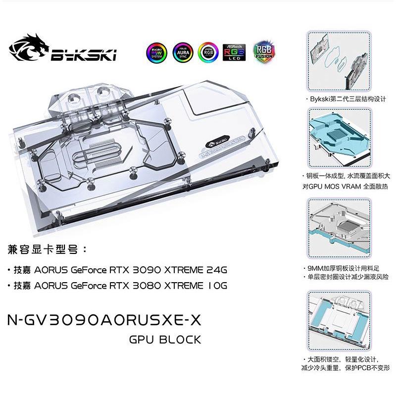 Bykski 技嘉 AORUS RTX 3080 / 3090 XTREME 顯示卡水冷頭 N-GV3090AORUSX