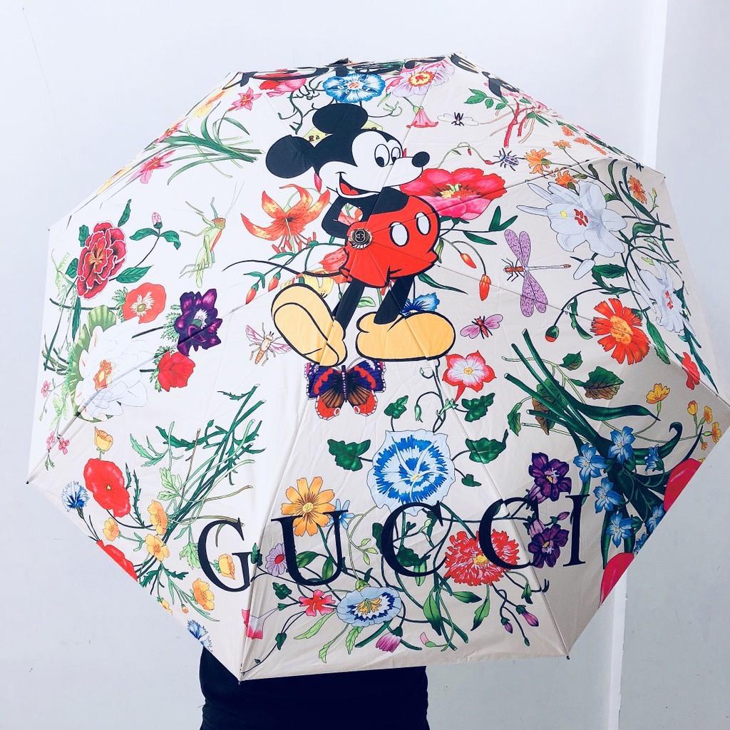 『Time』gucci 古馳 新款雨傘 全自動折疊雨傘三折傘 雨傘 晴雨傘 太陽傘 米奇 花卉圖案 遮陽防嗮隔熱 雙人傘