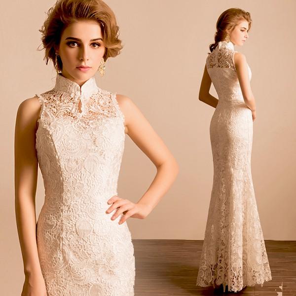 新娘服 現貨 白色中式訂婚舞臺演出表演走秀禮儀主持人婚紗 禮服 旗袍