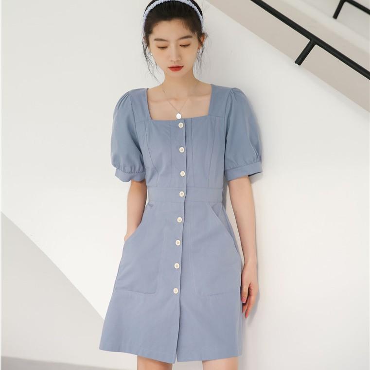43138 復古法式方領單排扣短袖連衣裙洋裝