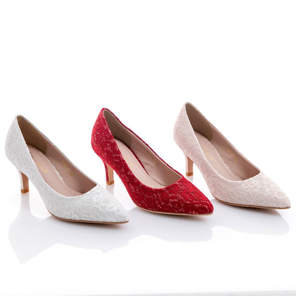 Mori girl 2WAY可拆式蝴蝶結蕾絲中低跟鞋 婚鞋 伴娘鞋