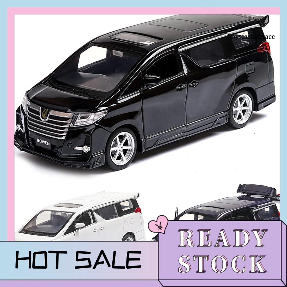 豐田 Bbe--1 / 32 for Toyota Alphard 合金汽車 LED 音樂迴力書桌裝飾模型兒童玩具