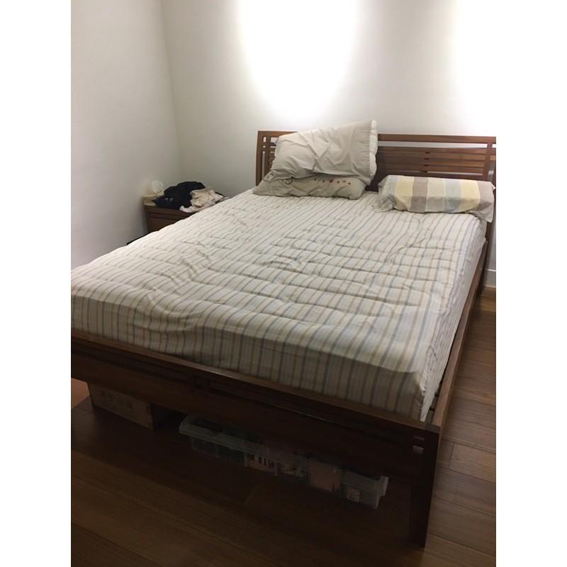 詩肯柚木雙人床/床頭櫃