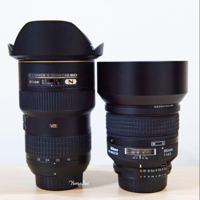 二手鏡頭 1.Nikon AF-S 16-35mm f/4G ED VR  2.Nikon AF 85mm F1.4D