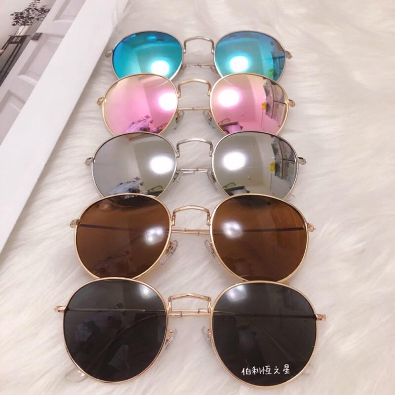 【B021】韓版 復古 細邊小圓框 太陽眼鏡 墨鏡 鄭爽同款 網紅款 抗UV400 反光鏡片 小圓鏡 女