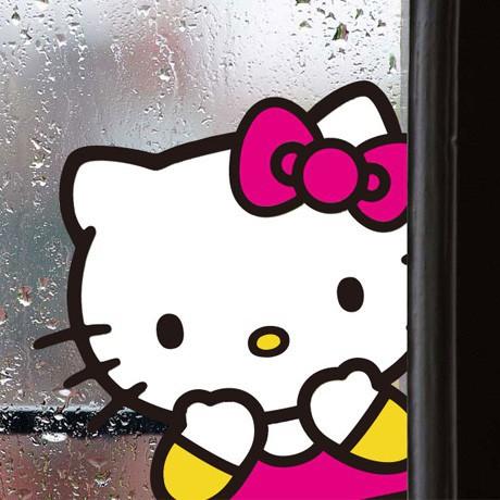 hello kitty貓白臉貼紙 防水自粘磁磚貼玻璃貼畫家居平面裝飾背景YJ