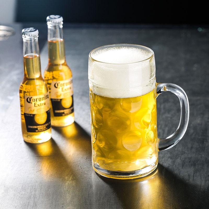 現貨滿199出貨加厚啤酒杯超大容量玻璃杯帶把大號英雄杯酒吧大扎啤杯1000毫升ml