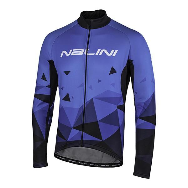 全新 公司貨 義大利 NALINI LOGO 男款長袖自行車車衣 快乾刷毛材質 休閒騎乘版型 藍菱紋