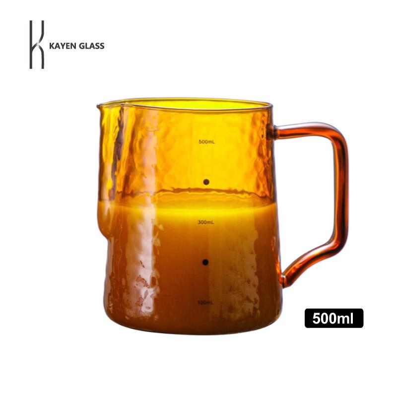 KAYEN 琥珀拉花杯 500ml 日系耐熱玻璃杯