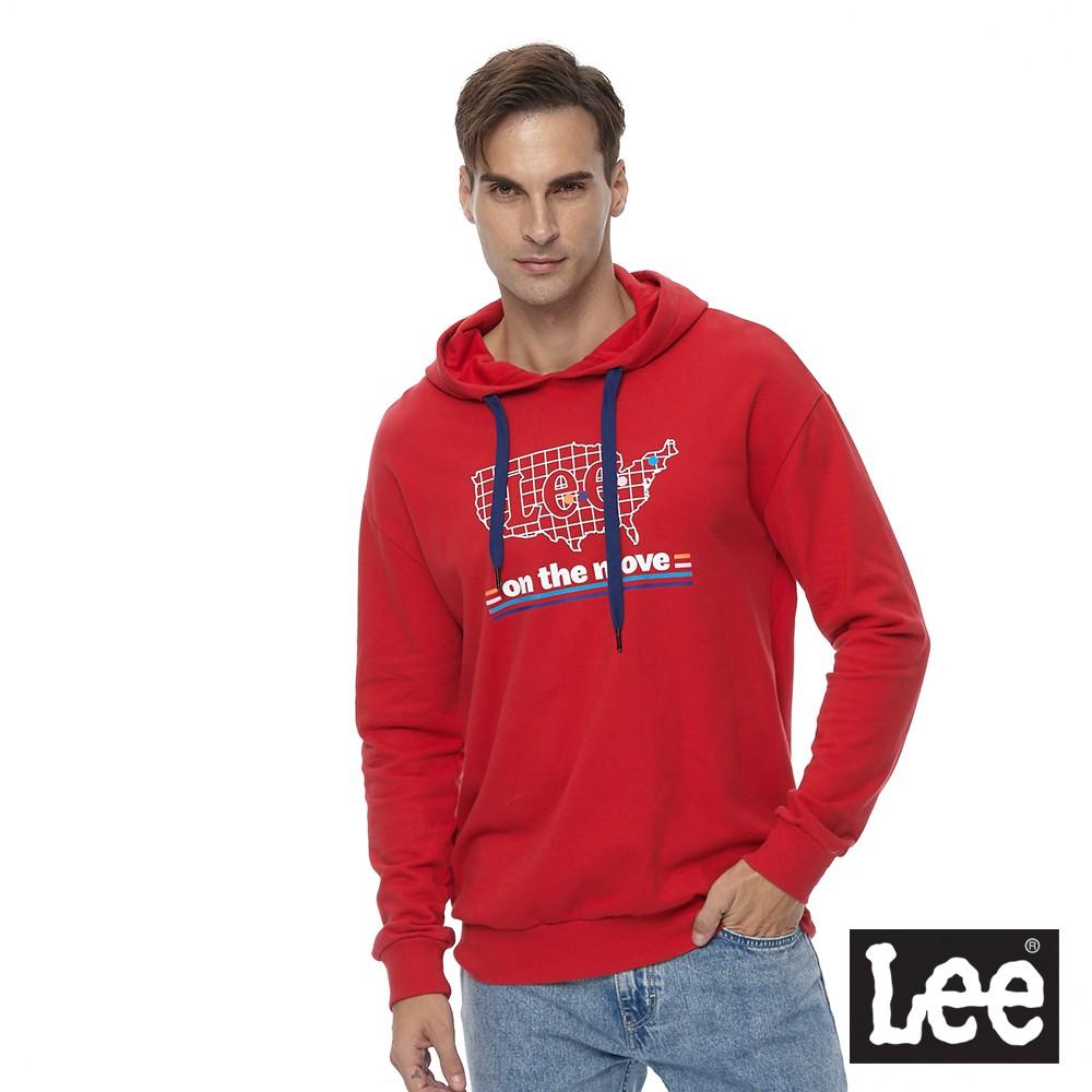 Lee 長袖連帽T恤 厚帽T 男 紅 美國地圖印花LOGO Mainline