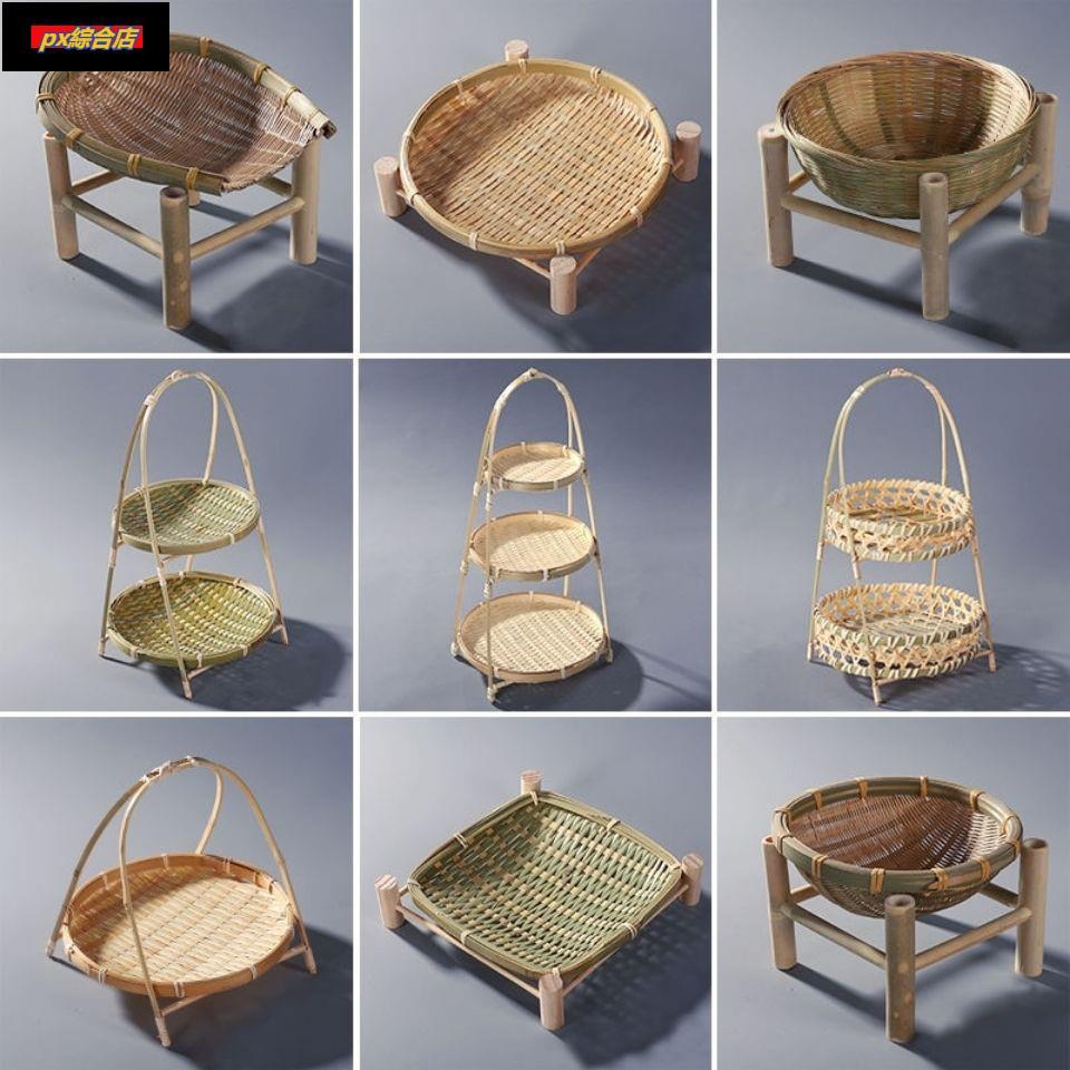 竹編水果盤點心籃木架提籃幹果籃竹製收納籃子手工可盛物竹籃