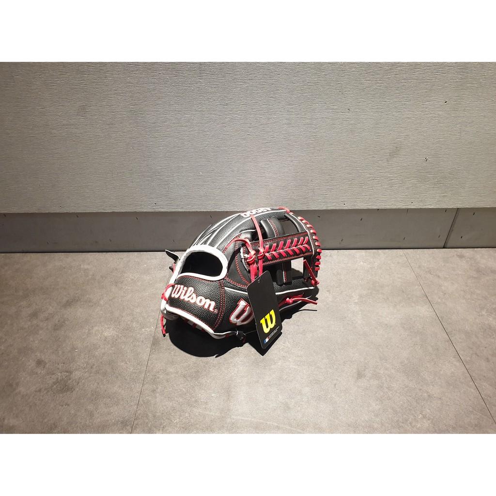 """【熱火體育】Wilson A2000 棒壘球 1785 SS 內野 接球手套 黑/紅 十字 11.75"""""""