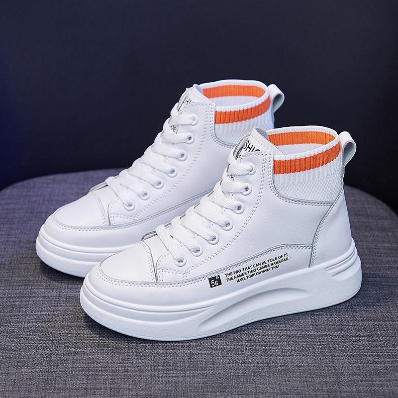 女鞋休閒運動鞋矮胖的厚底鞋防水皮革高度增加