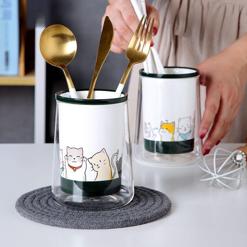 *現貨 推薦*陶瓷筷子筒筷籠家用廚房筷子簍收納創意可愛卡通餐具勺子瀝水筷架 日式陶瓷筷子筒 廚房餐具收納