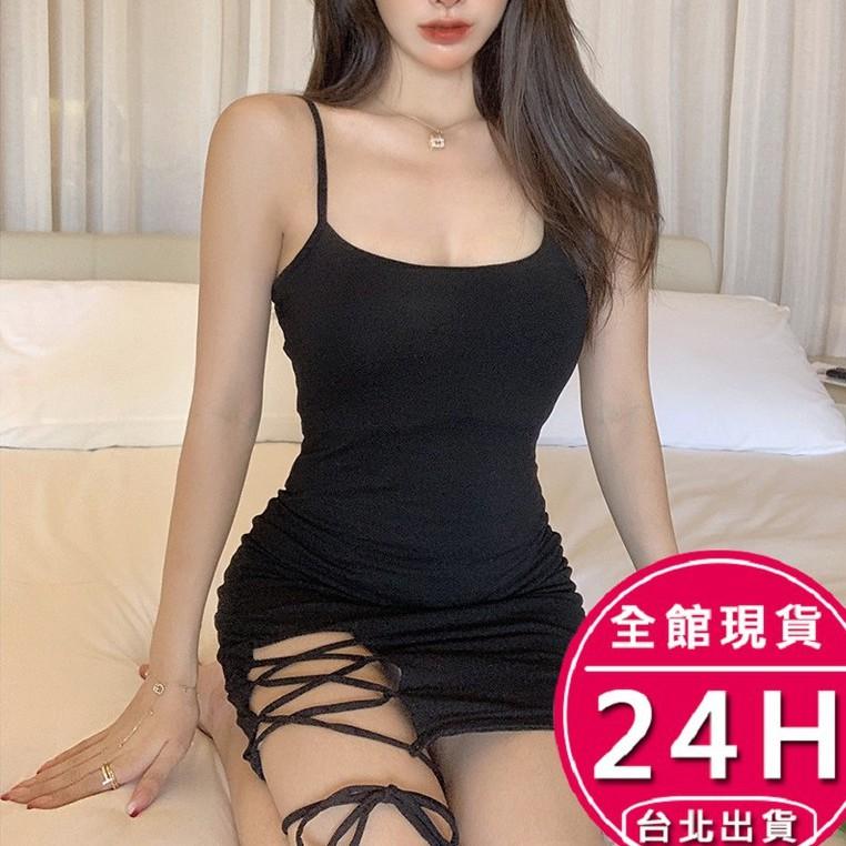 梨卡-夏季新款修身顯身顯瘦性感黑色不規則素面素色連身裙開叉綁帶辣妹吊帶連身裙BR1336【現貨24H】