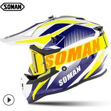 日本代購 全罩 半罩安全帽 機車帽 摩托車 新款SOMAN633 越野 全覆式速降越野 配SM15越野風鏡