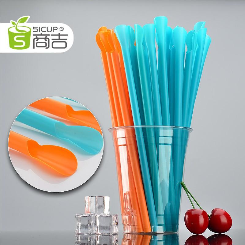 精品熱銷-橙色獨立包裝塑膠帶勺吸管細長一次性冰沙吸管直100只
