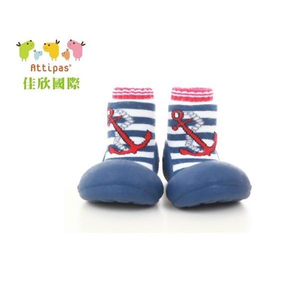 韓國 Attipas 快樂腳襪型學步鞋 - 水手深藍 船長淺藍