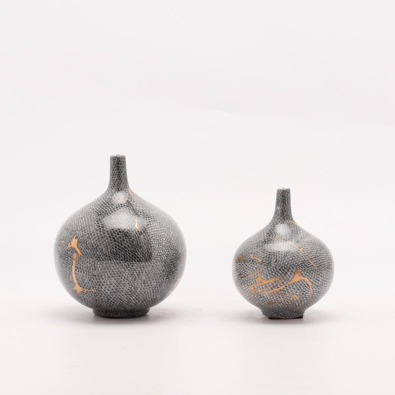 【htw】現代新中式創意輕奢陶瓷蛇紋花瓶花器客廳瓷器擺件電視柜酒柜擺設
