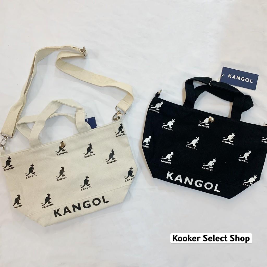 KANGOL 袋鼠 帆布 滿版LOGO 兩用 側背包 手提袋 黑 白 正品【Kooker】