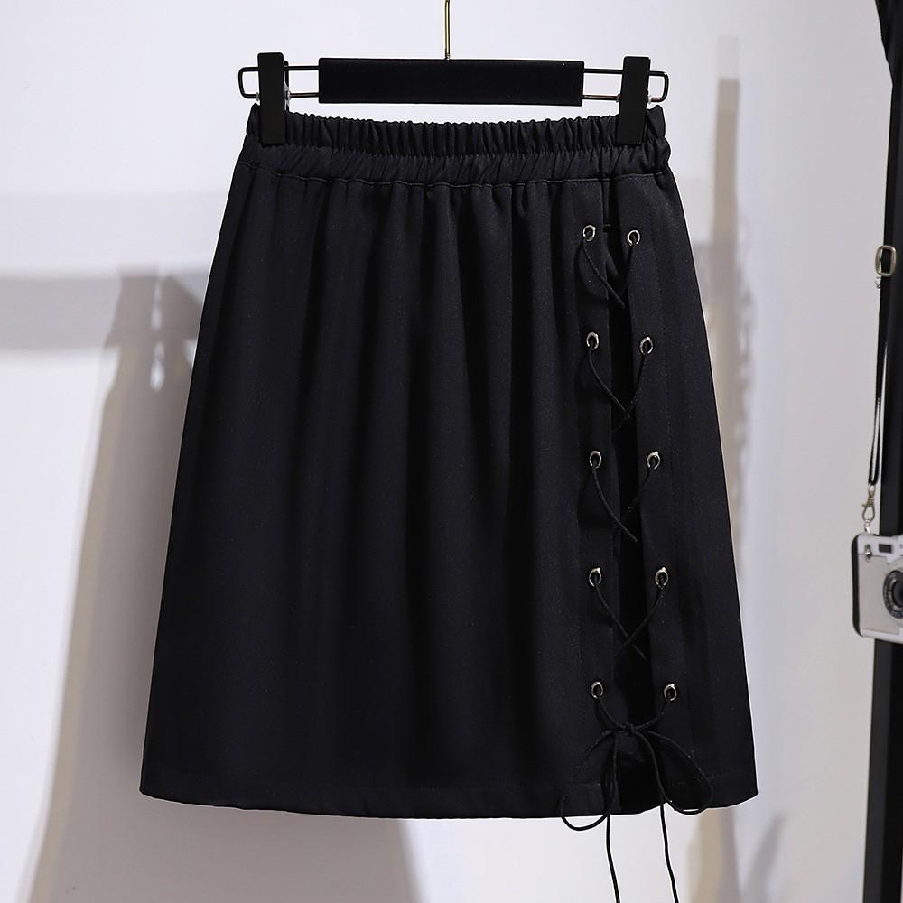 特大碼女裝胖mm夏季交叉綁帶不規則半身裙設計感包臀a字短裙61431