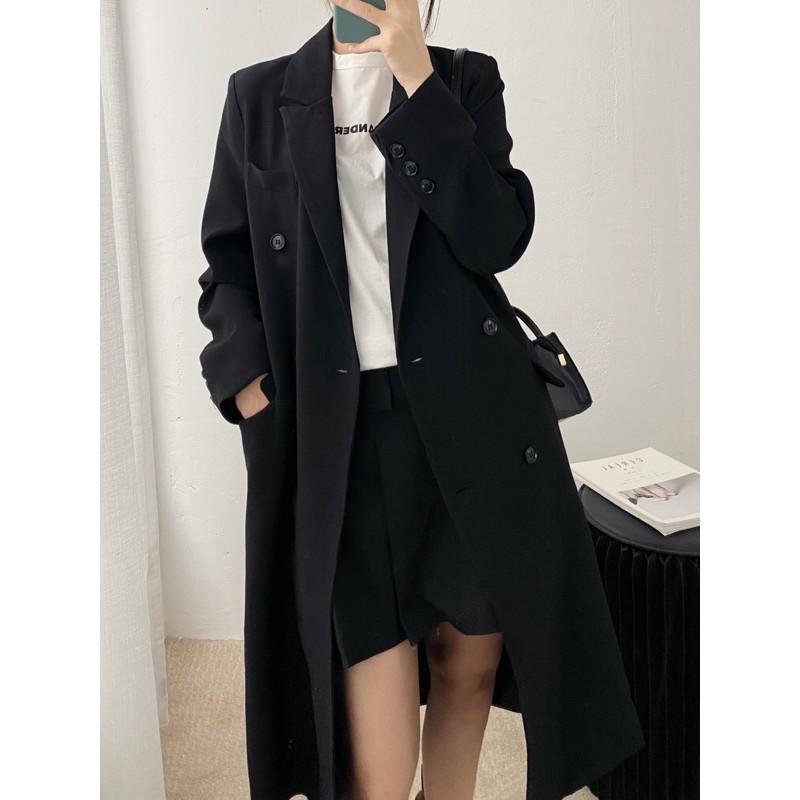 黑色長版小個子西裝休閒寬鬆大衣外套