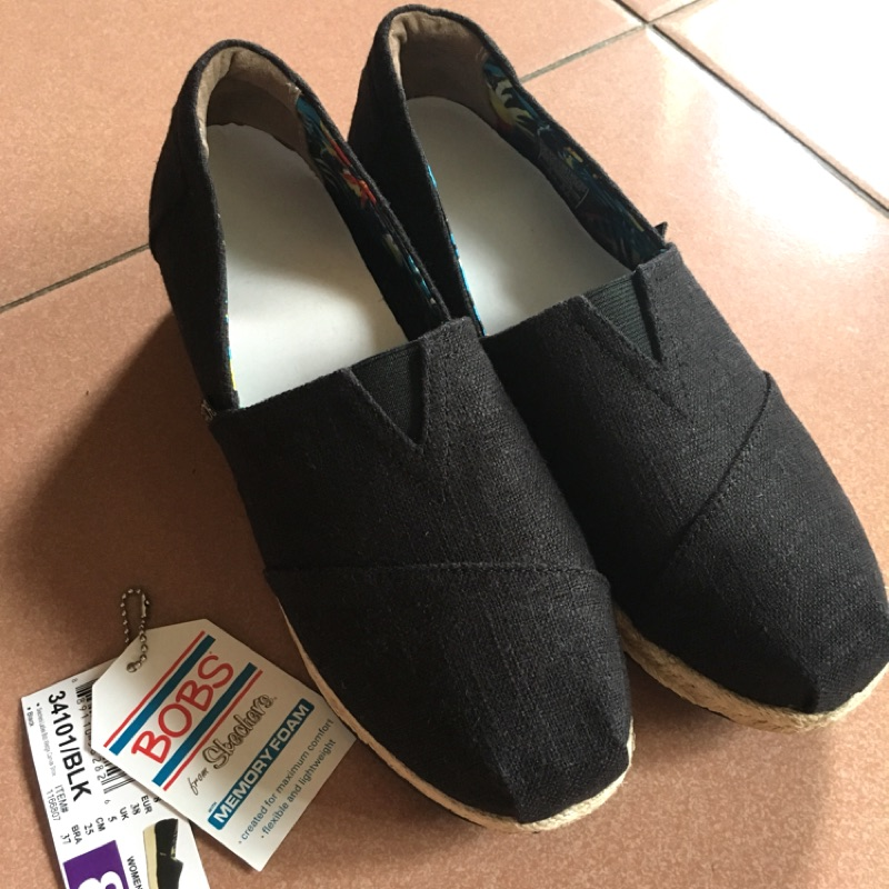 SKECHERS BOBS系列 黑色厚底楔型休閒鞋 US8 25cm
