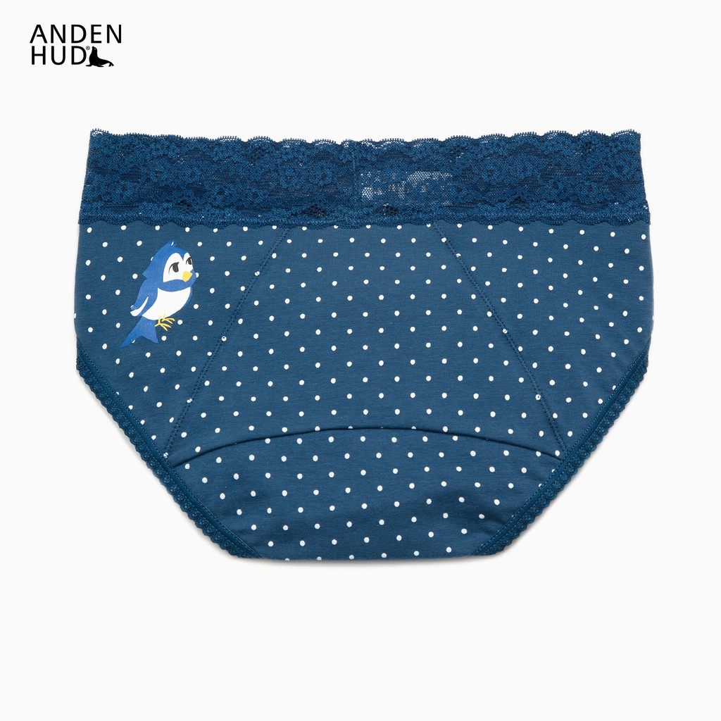 【Anden Hud】白雪公主系列.蕾絲中腰生理褲(海藍-點點小鳥) 台灣製