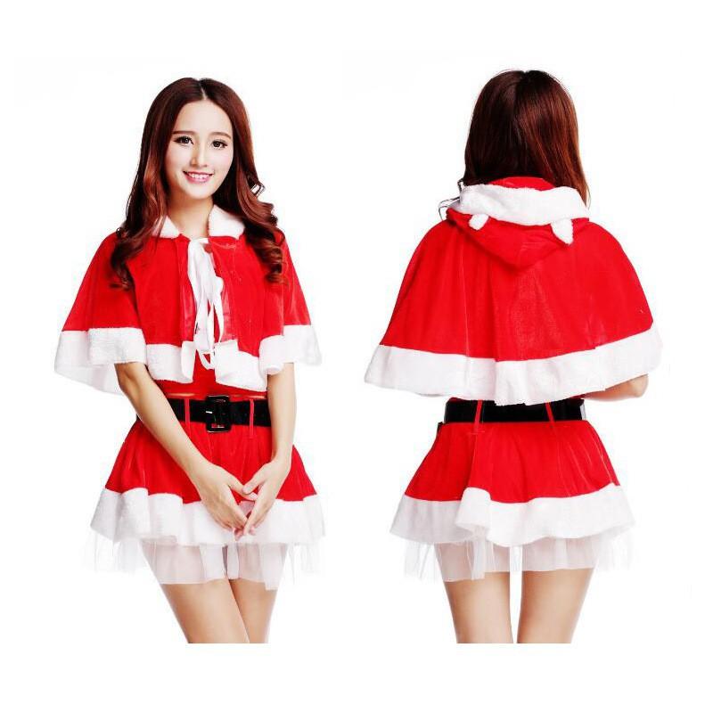 【批發價】聖誕節女生服裝 聖誕裝 聖誕舞會服裝 聖誕角色扮演服 聖誕連帽披風 聖誕節披風腰帶裙子 聖誕節cosplay服