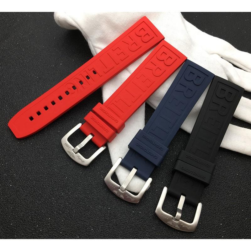 爆款熱賣適配Breitling百年靈進口復仇者氟橡膠手表帶 22mm黑鳥黃狼海洋