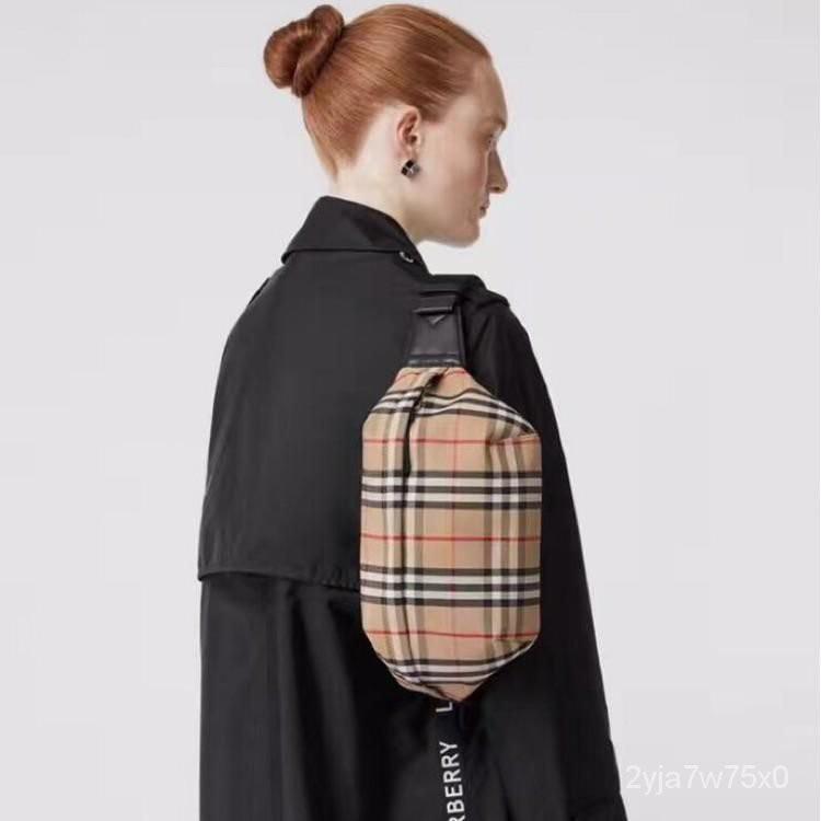 二手 BURBERRY巴寶莉 男女款 經典格紋 時尚 男包 小方包 胸包 腰包 rGQP