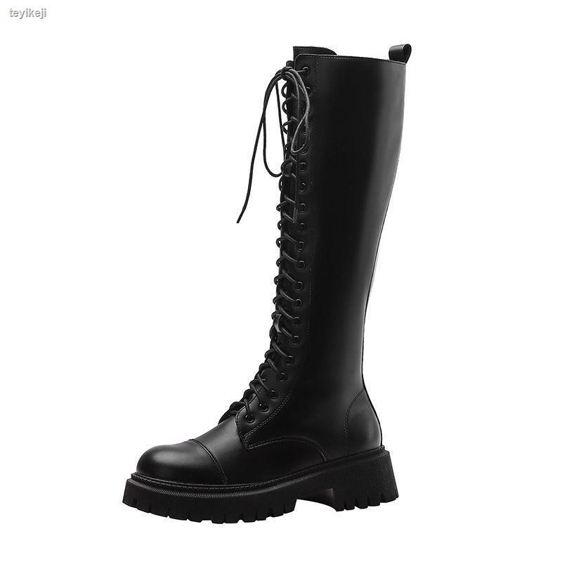 0113B家2020新款厚底騎士靴女長靴英倫風大頭高筒靴不過膝系帶長筒靴